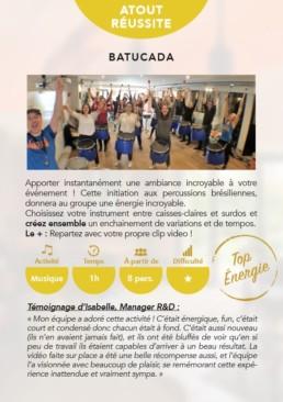 Carte détaillant l'activité Team buidling - La Batucada - percussions brésiliennes